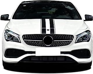 版 1 款引擎盖条纹图形引擎盖贴纸适用于梅赛德斯奔驰 A C E B Vito G GLA GLC CLA 45 AMG W176 C117 W204 W205 W212 W213 W177 G65 配件(哑光黑色)