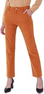 Bamans 女式弹力灯芯绒裤直筒秋冬温暖舒适时尚工作休闲裤