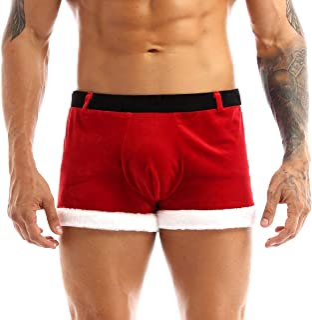Sholeno 男式天鹅绒圣诞老人假日花式角色扮演服装拳击手短裤内裤