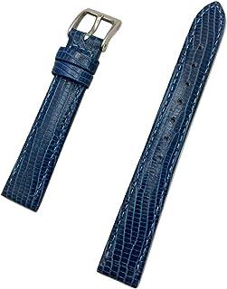 14 毫米蓝色真皮表带   尾蜥蜴纹理,轻质衬垫,替换腕带手链带磨砂衬里,为任何手表带来全新生活(女式标准长度)