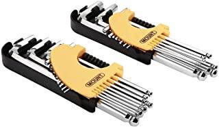 Mount 21 件长臂球端六角扳手套装,专业球头内六角扳手,Cr-V 钢,便携式驾驶工具套件,带铰链携带盒,用于家庭维护,车辆维修,公制 / SAE / 梅花。