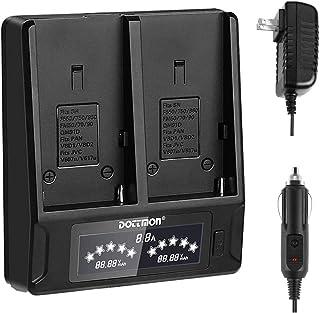 DOTTMON 相机电池充电器,双通道 LCD 显示充电器兼容索尼 NP F970 F750 F770 F930 F950 F960 F550 F530 F330 F570 CCD-SC55 TR516 TR818 TR910 TR917 摄像机电池