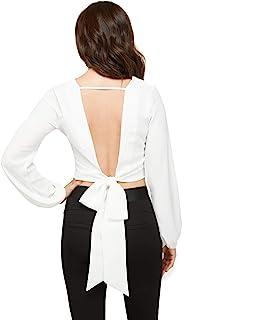 bebe 女式上衣长袖裹身衬衫女式露背衬衫露脐上衣