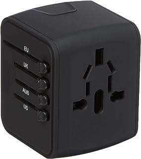 通用旅行适配器,一体化国际电源适配器 2.4A 双 USB,欧洲适配器旅行电源适配器壁式充电器英国、欧盟、澳大利亚、亚洲罩 150 多个国家/地区(黑色)