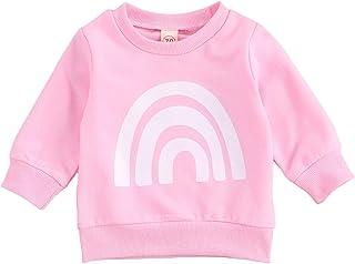 幼童女婴男孩字母印花毛衣长袖套头运动衫上衣秋冬户外服装(粉色彩虹,6-12 个月)