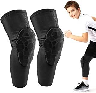 ACELIST 儿童/青少年 5-15 岁运动蜂窝压缩护膝护肘保护装备,适用于篮球、棒球、足球、排球、摔跤、骑行。