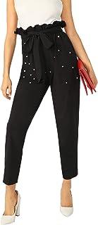 WDIRARA 女式优雅高腰纯色束腰前七分裤