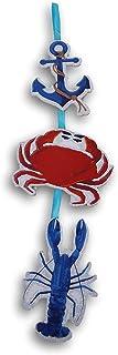 航海海滩甲壳虫主题可爱闪亮连接悬挂装饰标志 - 21 英寸高 x 5.5 英寸横跨