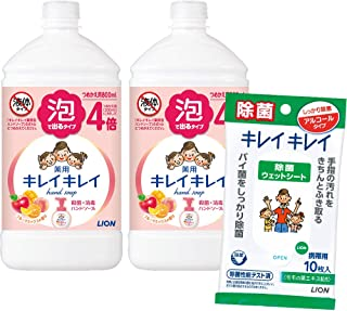 [Amazon.co.jp限定] Kirei Kirei 泡沫洗手液 水果混合的香味 替换装 800毫升×2个 附带*片