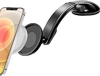 车载仪表板安装磁性支架适用于 iPhone 12/12 Pro Max/12 迷你车载支架适用于 Magsafe 充电器手机支架免提支架,带 VHB 粘合安装底座和可调节长臂