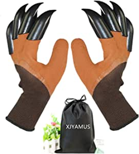 Garden Genie 手套,[2018 升级] 防水花园手套和爪子挖掘种植,送给女士和男士的*佳园艺礼物。 (绿色) 均码 suo170514xinglove00