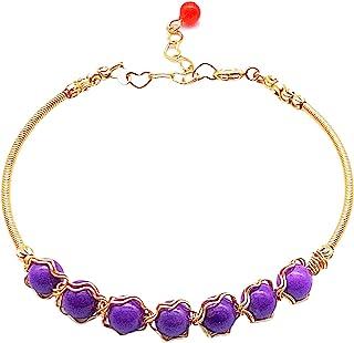 天然宝石紫色云母手链 6 毫米珠子可调节 14K 镀金*石爱石女士*爱抗**心灵能量脉轮手工珠宝礼品