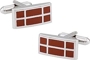 Cuff-Daddy 长方形深橙色珐琅银色袖口带礼盒