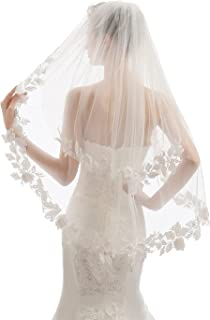 EllieHouse 2 层指尖长度短款婚礼新娘面纱带梳子 X05