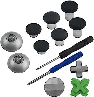 11 合 1 控制器替换零件兼容 Xbox One 控制器黑色 | 拇指棒模拟操纵杆 D-PadT8H 十字螺丝刀配件套件 EVORETRO