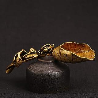 JANKE 茶勺,创意黄铜铜茶勺糖铲莲花叶形状茶勺铲金色咖啡勺茶具冰淇淋厨房工具