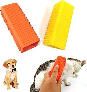 2 件宠物狗猫*器,硅胶猫毛刷宠物*刷,宠物狗猫毛去除刷,用于清洁地毯家具和汽车内饰(黄色和橙色)