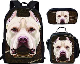 UNICEU 儿童学生时尚 3 件套背包套装耐用书包 + 午餐袋 + 铅笔盒 斗牛犬 One_Size