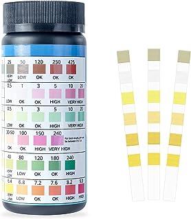 泳池和水疗测试条 - 100 克拉精确水化学测试套件 7 种方式适用于热水浴缸泳池配件 - PH 酸碱性、硬度、氯、溴测试条
