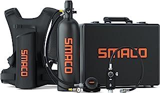 SMACO S700 1.9L 水肺坦克便携式迷你水肺潜水坦克 - DOT 认证坦克带 25-30 分钟备用潜水空气坦克套件氧气缸水下*设备,带铝制硬壳