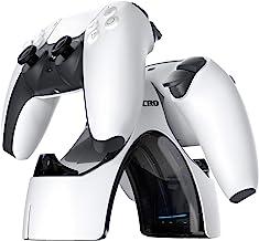 PS5 控制器充电器,Zacro PS5 充电器双 USB 快速充电,适用于索尼 Playstation 5 / PS5 控制器,控制器充电器底座,带 LED 指示灯,白色