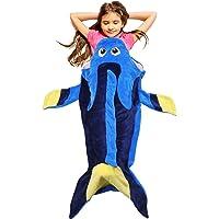 "Catalonia Tails 毛毯超软毛绒儿童睡毯包幼儿儿童少年男孩女孩 Blue Fish 52""x25"" 1CTM…"