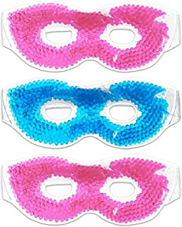 Hot/Cold Therapeutic Bead Pearl Gel Eye Masks (Pack of 3) Assorted Colors