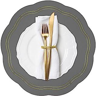 灰色餐垫 4 件套,圆形仿皮垫室内,庭院桌夏季户外餐垫,可水洗可擦拭餐桌垫适用于 7 月 4 日感恩节圣诞节派对家居装饰