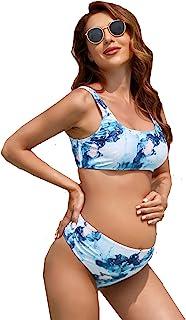 MakeMeChic 女式孕妇 2 件套泳装大理石印花高腰比基尼套装
