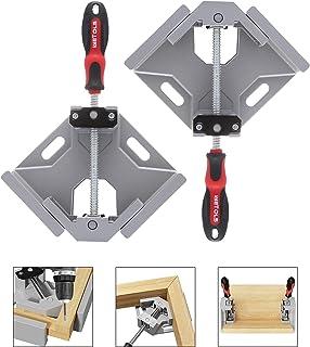 WETOLS 角夹 2 件 - 90 度直角夹 - 单把手角夹带可调节秋千钳口铝合金,适用于木工、相框、焊接和裱框 - WE706