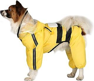 Etdane 狗狗雨衣防水宠物防雨夹克反光带雨披服装带皮带孔,适合大号中号小型小狗蜜蜂/4XL