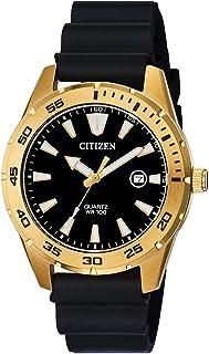 Citizen 男式不锈钢日本石英聚氨酯表带,黑色,22 休闲手表(型号:BI1043-01E