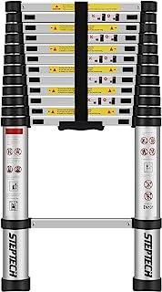 伸缩梯子 12 英尺(约 3.8 米)铝制折叠梯子 防跳 重型 轻质可折叠 伸缩 梯子 适用于家庭房车梯子 承重 320 磅(约 149.7 千克)