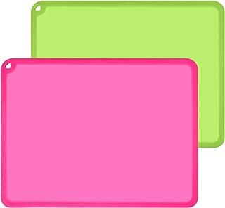 Siliconr Kids 婴幼儿餐垫,大号硅胶垫,适用于工艺品,液体树脂珠宝铸模垫,多用途硅胶餐垫,2 件装,玫瑰红和*