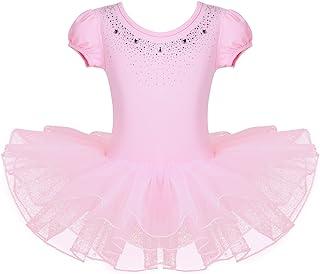 Jowowha 小女孩泡泡短袖闪亮水钻芭蕾紧身连衣裤网眼蓬蓬裙舞蹈服生日派对连衣裙