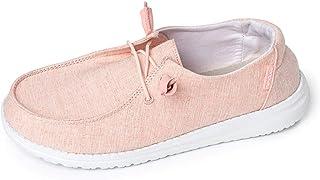 Hey Dude 女士 Wendy Linen 乐福鞋,粉色柠檬色