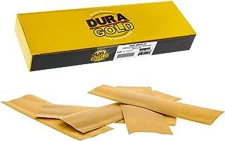 Dura-Gold - 高级 - 600 粒金 - 细节手工打磨钩和环砂纸床单 22.86 厘米 x 6.72 厘米 适用于汽车和木工 - 一盒 25 个