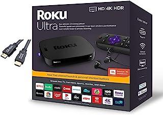 Roku Ultra Streaming Media Player 4K/HD/HDR,带高级 JBL 耳机、电视控制和个人快捷键,带 Ghost Manta 4K HDMI 电缆