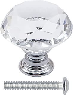 抽屉旋钮钻石形状水晶玻璃 30 毫米橱柜把手拉手 (30)