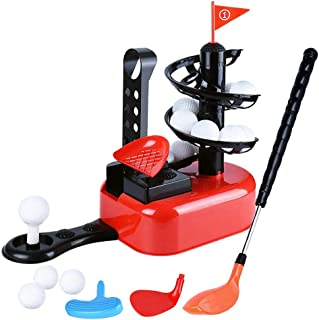GMAXT 儿童高尔夫玩具套装,户外草坪运动玩具,带 15 个训练高尔夫球和 3 个球杆头,室内锻炼,外院活动玩具,教育玩具,适合 3 岁以上儿童