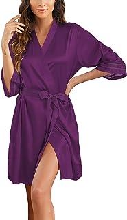 Newchoice 女式短款和服丝质睡袍 七分袖新娘派对缎面睡袍睡衣带口袋