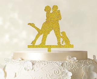 "Printtoo 家族蛋糕装饰个性化剪影蛋糕装饰可选颜色15.24 cm-20.32 cm 宽 Glitter Yellow (Design-2) 4""-6"" Inches CATO67-X"