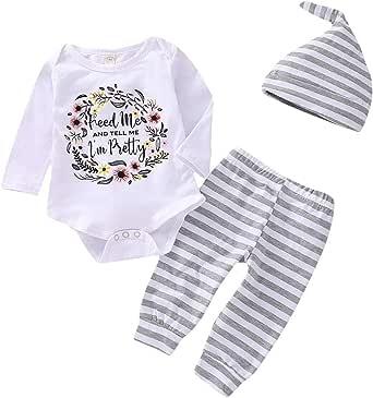 4 件男婴女孩套装婴儿幼儿长袖连衫裤帽春秋冬服装  White-pretty 0 - 6 Months