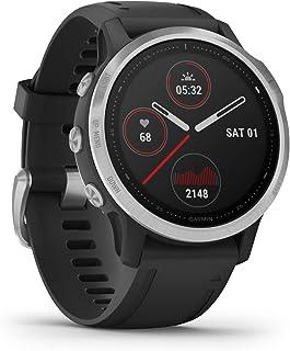 GARMIN 佳明 Fenix 6S,Premium Multisport GPS手表,体积更小,热度和高度可调V02 Max,Pulse Ox 血氧感测和训练负荷监测,Silver with Black Band