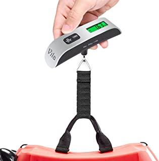 Vila 行李秤,旅行者数字电子平衡,温度传感器和低电量指示,易于读取 LCD 显示屏,*大承重 110 磅 / 50 千克,邮箱行李悬挂重量
