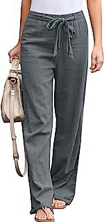 BLENCOT 女式时尚棉麻抽绳松紧腰长裤带口袋