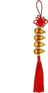 Feng Shui 木制 Wu Lou 悬挂中国结和红色流苏,中国风水装饰好运坠饰,带 4 个木质美食,传统风水祝福装饰财富、幸运和成功。