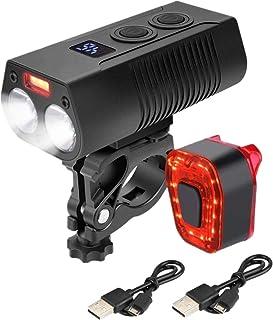 WINDFIRE 自行车灯套装 可充电超亮自行车灯 防水 7 种模式 自行车前灯 5 种模式 后灯 适合所有自行车、山、道路