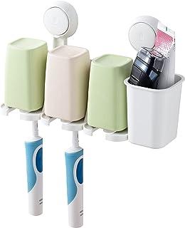 TAILI 牙刷架带吸盘,壁挂式牙膏剃刀支架用于浴室存储,多功能拼接牙刷杯漱口杯洗漱用品存储无钻孔