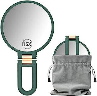 Dolovemk 旅行化妆镜,带支架,悬挂化妆镜,手持镜,带手柄,双面,旅行折叠手持镜,15 倍放大(深*-15)
